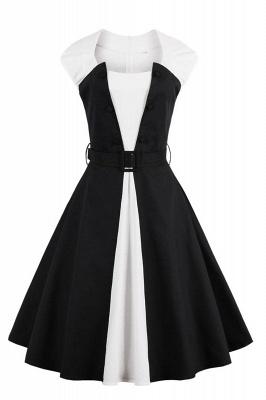 Vestido blanco y negro con cuello redondo y manga esencial de cuello redondo_1