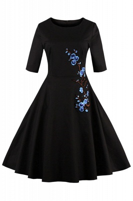 1/2 Sleeve Black Dress with Embroidered Flowers | Clearance sale and free shipping_4