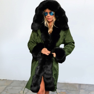 Army Green Faux Fur-trimmed long-length Coat | Classic Solid Color Winter/Fall Jacket_11