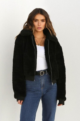 Daily Basic Winter Plus Size Regular Faux Fur Coat| Solid Colored Shirt Collar Long Sleeve Faux Fur Black/Pink/Ivory_12