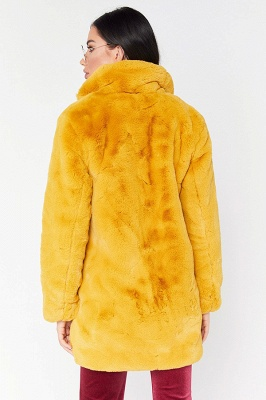 Daily Regular Stand Long Faux Fur Coat| Solid Colored Long Sleeve Faux Fur Yellow / Blue / Fuchsia_11