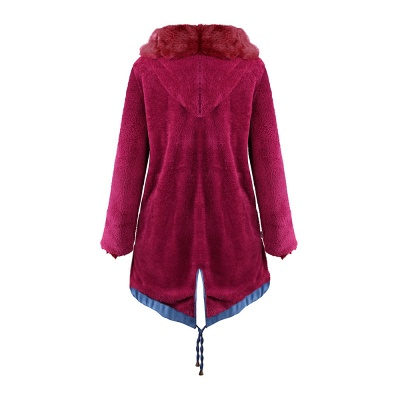 Midnight Blue Hooded Long-length Faux Fur Coat | Women's Solid Color Winter/Fall Jacket_45
