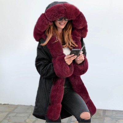 Black Faux Fur-trimmed Long-length Overcoat | Warm Hooded Fur Coat in Burgundy/Black/Gray Shawl Collar_6