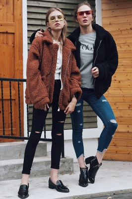 Going out Basic Regular Faux Fur Coat| Solid Colored Stand Long Sleeve Faux Fur White / Brown / Black_37