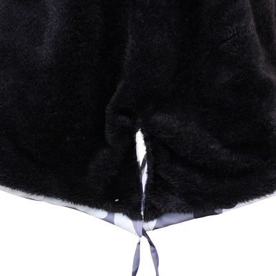 المرأة مقنعين التمويه فو الفراء سترة مصمم أزياء   معطف متوسط الطول بياقة عنابي / أسود / رمادي_27