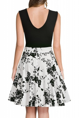 Sleeveless Sexy V-neck A-line Dress with Floral Skirt | Clearance Sale & Free Shipping_14