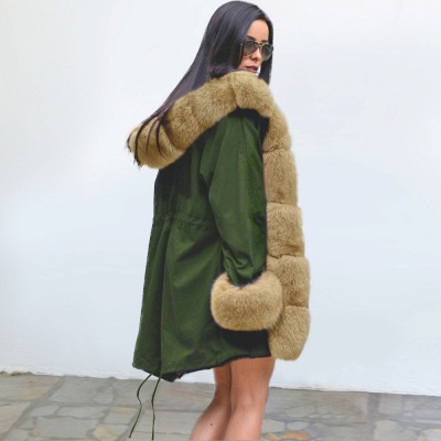 Army Green Faux Fur-trimmed long-length Coat | Classic Solid Color Winter/Fall Jacket_8