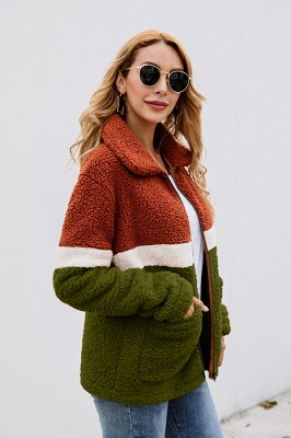 Basic Plus Size Two toned Long Fur Coat | Solid Colored Turndown Long Sleeve Overcoat Black/Green_13