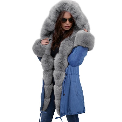 Midnight Blue Hooded Long-length Faux Fur Coat | Women's Solid Color Winter/Fall Jacket_40