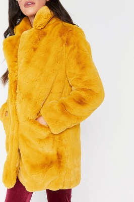 Daily Regular Stand Long Faux Fur Coat| Solid Colored Long Sleeve Faux Fur Yellow / Blue / Fuchsia_12