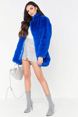 Daily Regular Stand Long Faux Fur Coat| Solid Colored Long Sleeve Faux Fur Yellow / Blue / Fuchsia_27