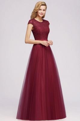 Elegant Lace Top Cap Sleeves Long Tulle Bridesmaid Dresses_7