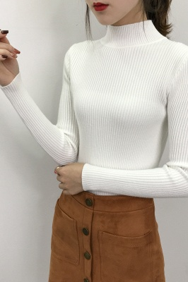 Fitted Top in a fine-knit viscose blend   Long Sleeves Round Neckline Sweater_19