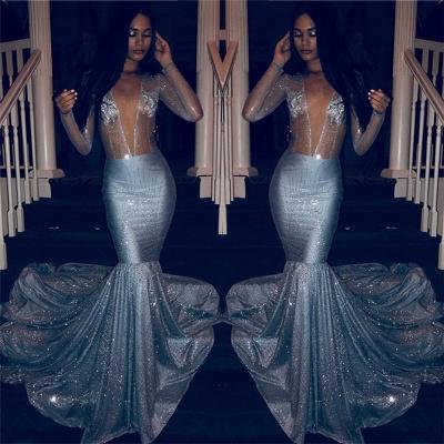 2021 Glamorous Deep V Neck Prom Dresses | Günstige Mermaid Crystal Langarm Partykleider_2