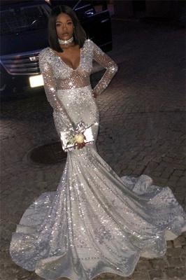 Unique V-Neck Long Sleeves Sequins Mermaid Floor-Length Prom Dresses_1