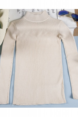Fitted Top in a fine-knit viscose blend   Long Sleeves Round Neckline Sweater_3