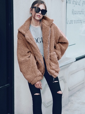 Going out Basic Regular Faux Fur Coat| Solid Colored Stand Long Sleeve Faux Fur White / Brown / Black_19