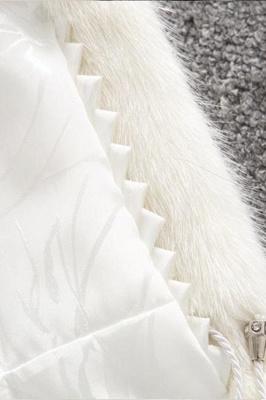 Abrigo con capucha de media longitud negro / blanco de piel sintética | Chaqueta de piel sintética con cuello chal artificial islandés_18