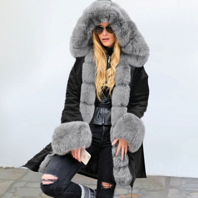 Black Faux Fur-trimmed Long-length Overcoat | Warm Hooded Fur Coat in Burgundy/Black/Gray Shawl Collar_9
