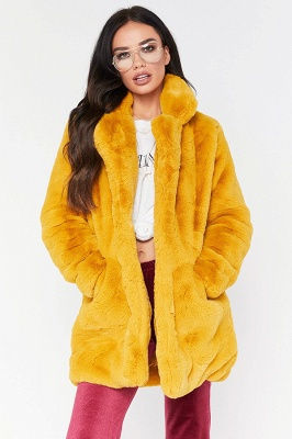 Daily Regular Stand Long Faux Fur Coat| Solid Colored Long Sleeve Faux Fur Yellow / Blue / Fuchsia_13