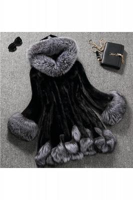 Manteau mi-long à capuche en fausse fourrure noir / blanc | Veste en fausse fourrure à col châle artificiel islandais_3