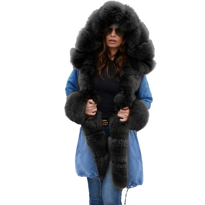 Midnight Blue Hooded Long-length Faux Fur Coat | Women's Solid Color Winter/Fall Jacket_29