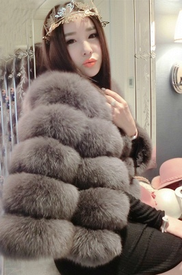 Women's Daily/Party Long Faux Fur Coat | Solid White/Pink/Ruby/Burgundy Colored Round Neck Long Sleeve Faux Fur Overcoat_40