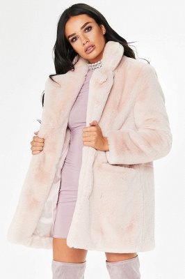 Daily Regular Stand Long Faux Fur Coat| Solid Colored Long Sleeve Faux Fur Yellow / Blue / Fuchsia_53