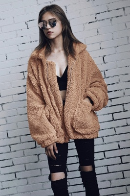 Going out Basic Regular Faux Fur Coat| Solid Colored Stand Long Sleeve Faux Fur White / Brown / Black_10