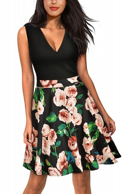 Sleeveless Sexy V-neck A-line Dress with Floral Skirt | Clearance Sale & Free Shipping_1