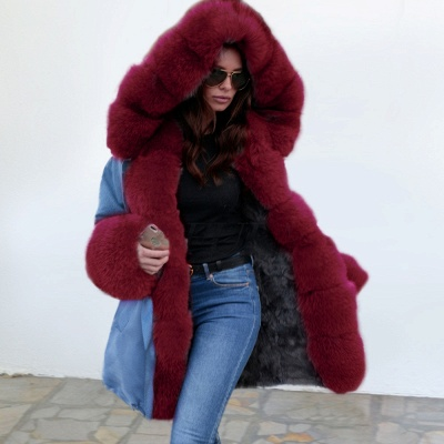 Midnight Blue Hooded Long-length Faux Fur Coat | Women's Solid Color Winter/Fall Jacket_5