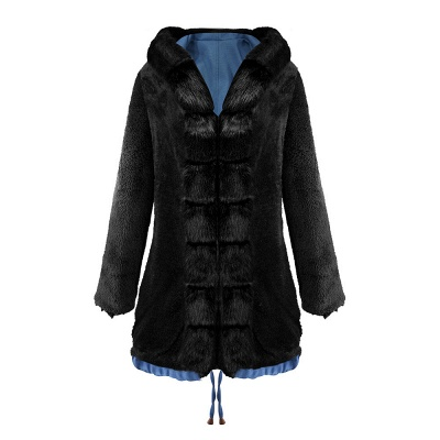 Midnight Blue Hooded Long-length Faux Fur Coat | Women's Solid Color Winter/Fall Jacket_22