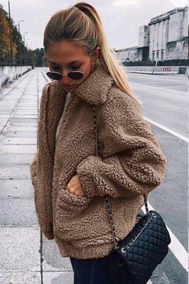 Going out Basic Regular Faux Fur Coat| Solid Colored Stand Long Sleeve Faux Fur White / Brown / Black_16