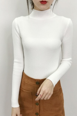 Fitted Top in a fine-knit viscose blend   Long Sleeves Round Neckline Sweater_16