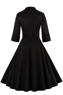 1/2 Sleeve Bow Tie Two Toned Vintage Dress with Pleats clearance sale & free shipping_8