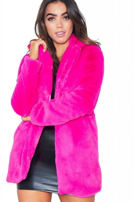 Daily Regular Stand Long Faux Fur Coat| Solid Colored Long Sleeve Faux Fur Yellow / Blue / Fuchsia_5