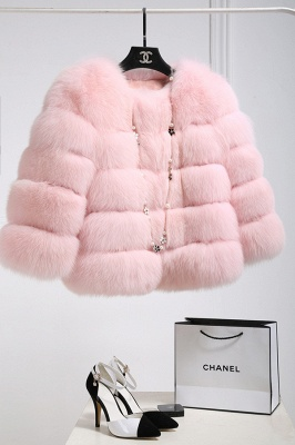Women's Daily/Party Long Faux Fur Coat | Solid White/Pink/Ruby/Burgundy Colored Round Neck Long Sleeve Faux Fur Overcoat_2