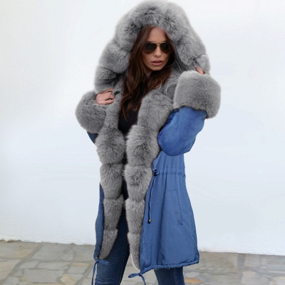 Midnight Blue Hooded Long-length Faux Fur Coat | Women's Solid Color Winter/Fall Jacket_12