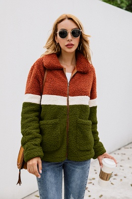 Basic Plus Size Two toned Long Fur Coat | Solid Colored Turndown Long Sleeve Overcoat Black/Green_14
