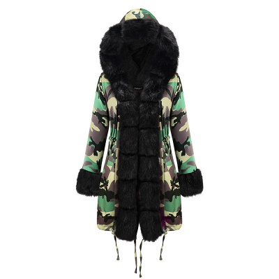 Electric Army Green Faux Fur Chubby Jacket | Superstar Faux Fur Coat in Burgundy/Black/Gray Shawl Collar_26
