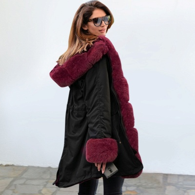 Black Faux Fur-trimmed Long-length Overcoat | Warm Hooded Fur Coat in Burgundy/Black/Gray Shawl Collar_18