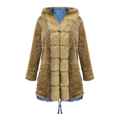 Midnight Blue Hooded Long-length Faux Fur Coat | Women's Solid Color Winter/Fall Jacket_47