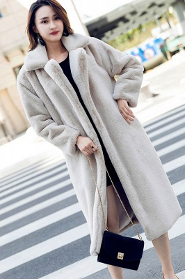 Daily Street Fashion Going out Winter Plus Size Long Faux Fur Coat | Solid Colored Long Sleeve Faux Fur Pink / Black / White_5