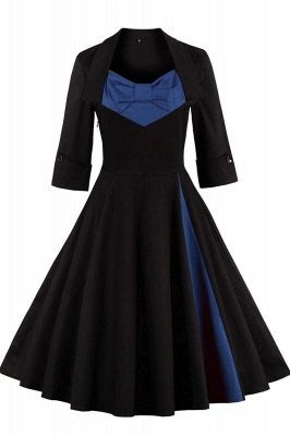 1/2 Sleeve Bow Tie Two Toned Vintage Dress with Pleats clearance sale & free shipping_7