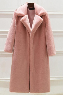 Daily Street Fashion Going out Winter Plus Size Long Faux Fur Coat | Solid Colored Long Sleeve Faux Fur Pink / Black / White_2