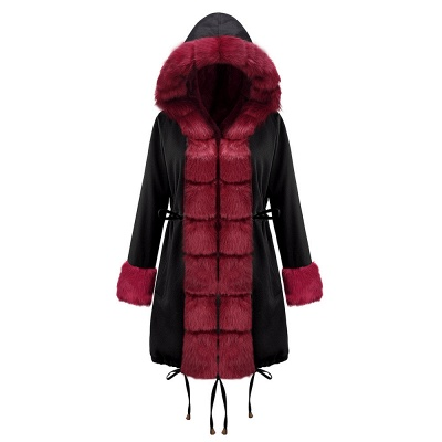 Black Faux Fur-trimmed Long-length Overcoat | Warm Hooded Fur Coat in Burgundy/Black/Gray Shawl Collar_14