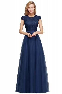 Elegant Lace Top Cap Sleeves Long Tulle Bridesmaid Dresses_4