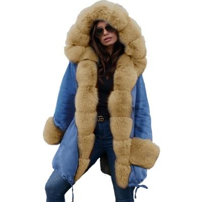 Midnight Blue Hooded Long-length Faux Fur Coat | Women's Solid Color Winter/Fall Jacket_48