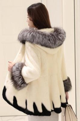 Abrigo con capucha de media longitud negro / blanco de piel sintética | Chaqueta de piel sintética con cuello chal artificial islandés_9