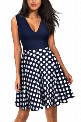 Sleeveless Sexy V-neck A-line Dress with Floral Skirt | Clearance Sale & Free Shipping_5